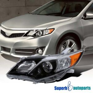 For 2012 2014 Toyota Camry Se Style Shiny Black Driver Side Projector Headlight