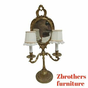 Vintage Spanish Regency Brass Candelabra Table Light Vanity Mirror