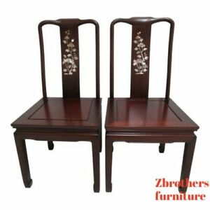 2 Vintage Rosewood Chinese Chippendale Mother Of Pearl Dining Room Side Chairs C