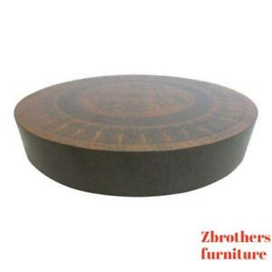 Vintage Mid Century Faux Copper Round Spinning Egyptian Chariots Coffee Table
