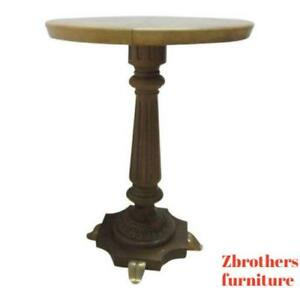 Vintage Brass Faux Paint Marble French Regency Carved Pedestal Lamp End Table B