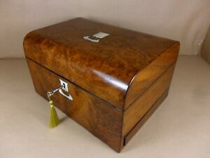 Antique Victorian Walnut Dome Top Jewellery Sewing Box C1860 1880 Code 507