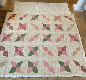 Antique Hand Sewn Quilted 76 X 62 Quilt Extension