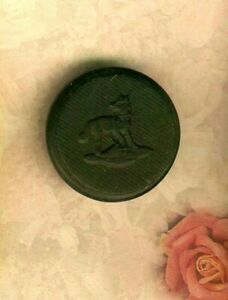 Victorian Pressed Black Horn Standing Wolf Sporting Button