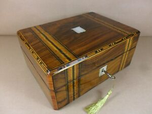 Antique Victorian Parquetry Walnut Jewellery Sewing Box C1860 1880 Code 505