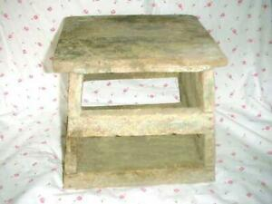Antique Folk Art Very Old New England Foot Milking Stool Bench Old Yellow Paint