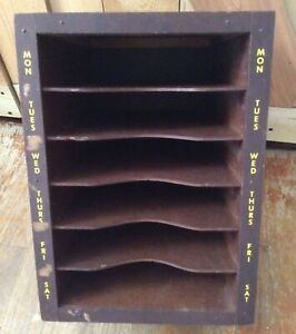 Vtg Antique Wood Letter Mail Cubby Sorter Organizer Box Paper Tray Slot Desk