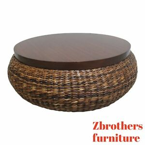 Palecek Woven Rush Mahogany Drum Coffee Serving Table