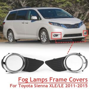 Chrome Front Fog Light Lamps Frame Cover Trim For Toyota Sienna Xle Le 2011 2015