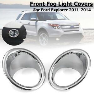 2pcs Abs Chrome Front Fog Light Cover Trim For Ford Explorer 2011 2012 2013 2014