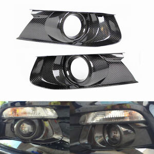 Carbon Fiber Front Bumper Fog Light Bezel Cover For 2015 2018 Ford Mustang Gt