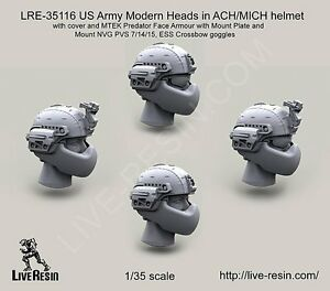 Live Resin 35116 135 Modern US Army Heads in ACHMICH Helmet with Cover