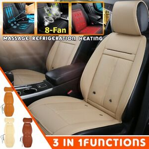 Pu Leather Car Front Seat Cover Cushion 3in1 Cooling 8 Fan Warm Heated Massage