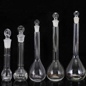 5 250ml Clear Glass Volumetric Flask Beakers Borosilicate Lab Glass Round Bottom