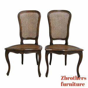 Pair Vintage Custom French Country Cane Back Dining Room Side Chairs A