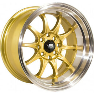 15x8 Gold Mst Mt11 Wheels 4x100 4x4 5 0 Fits Ford Mustang 4 Lug Only