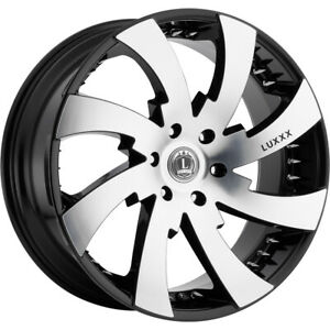 24x10 Black Machined Luxxx Alloys Lux12 Wheels 5x115 15 Fits Dodge Charger