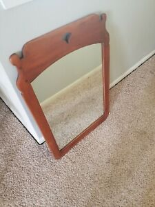 Vintage Cushman Colonial Creations Solid Yellow Birch Large Wall Mirror 4136