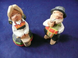 Hand Carved Made In Norway Wooden Dolls