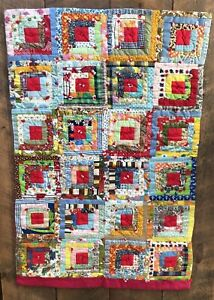 Vintage Log Cabin Baby Quilt Hand Quilted Multi Color Red Backing 31 X 46