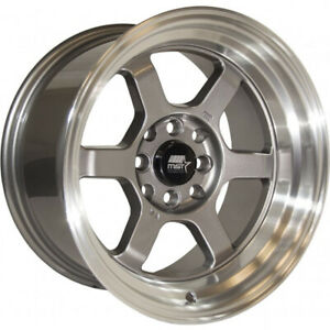 15x8 Gray Mst Time Attack Wheels 4x100 4x4 5 0 Fits Ford Mustang 4 Lug Only