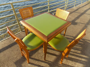 Rare 4 Lime Green Vtg Stakmore Padded Folding Chairs W Cane Back Plus Table