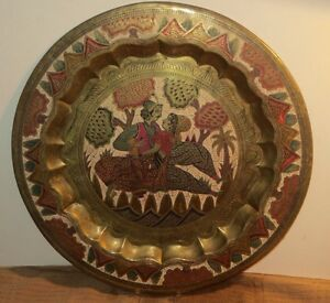 Antique Ottoman Middle Eastern Large Brass Enamel Tray W Hand Engraved Designs