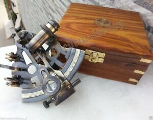 Nautical Marine Sextant Wooden Box Brass Handmade Collectible German Astrolabe
