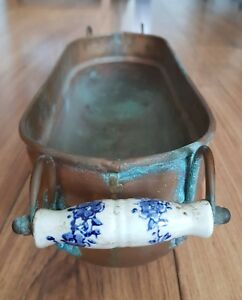 Copper Planter Dutch Delft Blue Ceramic Handles 47cms Length