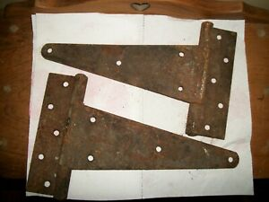 2 Vintage Hinge Barn Door Shed Gate Rustic Primitive T Strap Hinges 12
