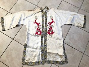 Antique Chinese Tessie Robe With Dragons