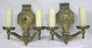 Vintage Pair 1930s Art Deco Electric Wall Sconces Gothic Style Rewired Nice