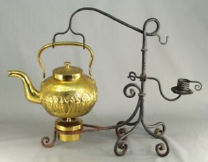 Antique Arts And Crafts Brass Tea Kettle Teapot On Wrought Iron Stand W Candle