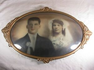 Vintage Oval Convex Bubble Glass Colorized 1920 S Wedding Photo In Ornate Frame