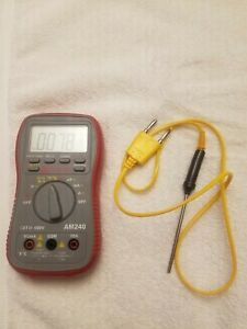 Amprobe Am240 Multimeter With Temp Probe And Fluke Carrying Case