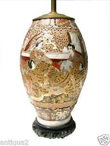 Large Authentic Meiji Period Japanese Satsuma Antique Vase Cnvrtd To Lamp
