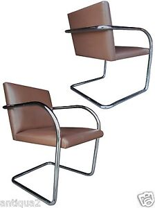 Pair Knoll Mies Van Der Rohe Styl Chrome Leather Cantilever Lounge Arm Chairs