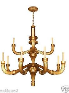Giant 5 Diam Carved Gilded Wood Italian Neoclassical Chandelier Pair Available