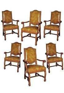 Set Six Italian Tuscan Styl Carved Arm Dining Chairs Faux Leather Spanish Nails