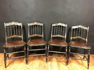 Set Of 4 Antique Hand Painted Side Chairs Dining Kitchen Dinette