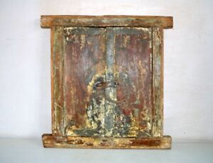 Antique Door With Window Frame Ancient Old Wooden Hand Crafted Panel