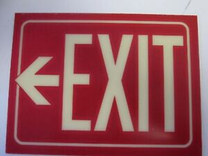 Electromark Exit Sign 9 X 12 Glow in the dark Reflective Self adhesive S222r