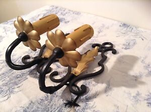 Vintage French Gold Black Wrought Iron Wall Lights Candle Sconces 3203