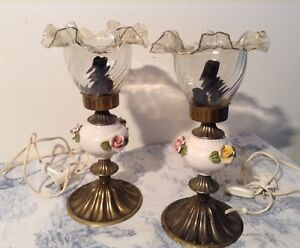 Pair French Vintage Table Lamps With Ceramic Flowers Glass Shades 3197