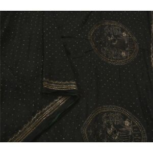 Sanskriti Vintage Saree 100 Pure Silk Hand Beaded Fabric Premium Black Sari
