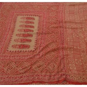 Sanskriti Vintage Cream Saree Pure Silk Hand Beaded Craft Fabric Printed Sari