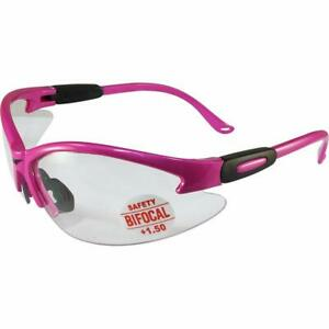 Cougar Reader Safety Glasses 1 5 Dioptre Bifocal Cheater Pink Ladies Ansi Clear