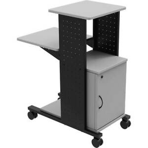 Steel Rolling Projector Stand Av Cart W Locking Storage Cabinet 3 Shelves