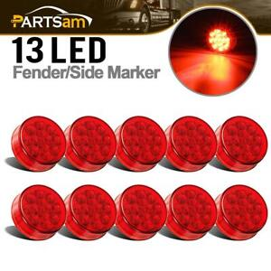 10 Pcs 2 5 Inch Round Led Clearance Side Marker Truck Rv Lights Red 13 Diodes