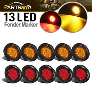 10x Red amber 2 5inch Miroflex Round Led Lights 13led Reflectors Flush Mount